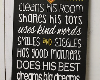 A true SUPERHERO/Subway Style/Boy Sign/Boy's Decor/Gift/Crown/Black/Yellow/Red/White/Wood Sign/Boy's Room/Black/U Choose Colors/Wood Sign