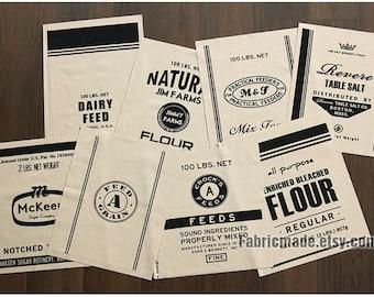 Panel Linen Fabric, Linen Cotton Blend Fabric Cloth, Antique Looking Beige Cream Black Label 8 Patterns For Bag Mat