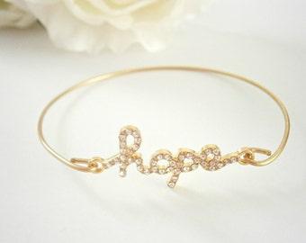 Hope Bangle Bracelet - Gold Rhinestone  Bracelets - Spiritual Jewellery - Inspirational Message Jewelry - Religious Jewelry - Word Bangles