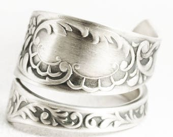 Rococo Flower Ring, Victorian Ring, Sterling Silver Spoon Ring, Antique Towle ca 1890, Wrap Ring, Gift for Her, Adjustable Ring Size (7048)