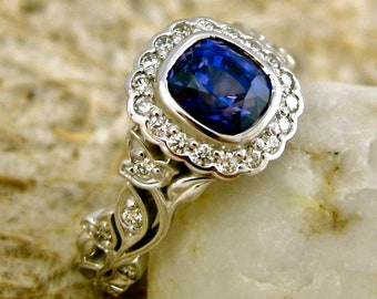 Dark Blue Sapphire Engagement Ring in 14K White Gold with Diamonds in Flower Buds & Leafs on Vine Size 5
