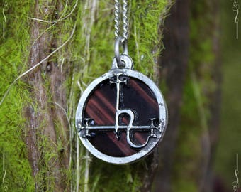 Sigil of Lilith pendant, seal of Lilith, with red tiger eye, double sided pendant