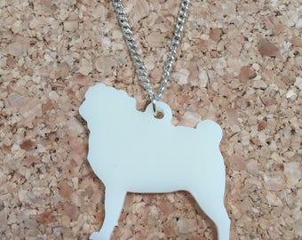 Cream pug necklace