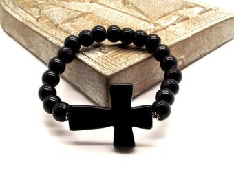 Black Cross Beaded Bracelet Featuring Black Onyx and Obsidian - Black Bracelet