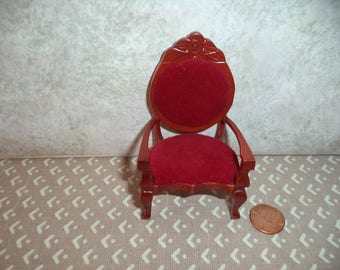 1:12 scale Dollhouse Victorian Chair (Red)