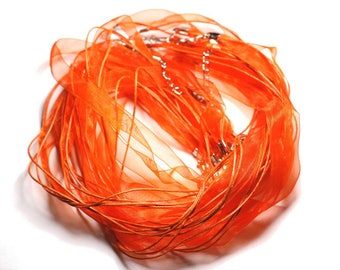 100pc - necklaces neck 47cm cotton and 10mm Orange Organza fabric
