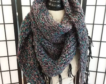 Knitted Triangle Shawl/ Scarf with fringe.