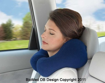 Award-winning Airplane Pillow, Medium, Blue, Best For Travel, Airplane, Train, Bus, Car Travel Neck Support