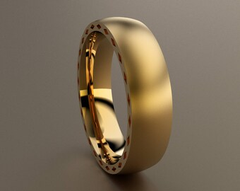 Yellow Gold 6mm Brushed Mens Wedding Band with Side Diamond Design, Classic 14kt Yellow Gold Wedding Ring, Simple Mens Ring w/ Unique Design