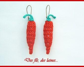 Crochet red pepper earrings, crochet jewelry, crochet accessory, pepper jewelry, pepper accessory, red and green, textile jewelry earrings