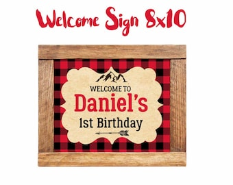 Lumberjack Welcome Sign, 8x10 Printable welcome sign, Lumberjack Decorations, Lumberjack Birthday, Digital File.