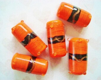 Vintage Toggle Beads - 5 Orange Ceramic Toggle Beads - Orange and BlackToggle Beads - Colorful Ceramic Toggles - Handpainted Barrel Beads