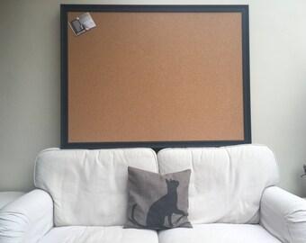 Huge cork pin board. Cork bulletin board. Cork wall planner. Cork message board. Black framed cork board Framed notice board Black pin board