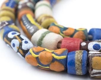 52 Krobo Tribal Beads - African Powder Glass Beads Ghana (KRB-MIX-MIX-249)