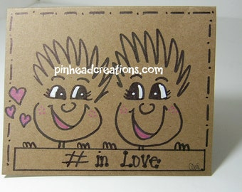 "Greeting Card PinHead Happy Face ""# in love"""