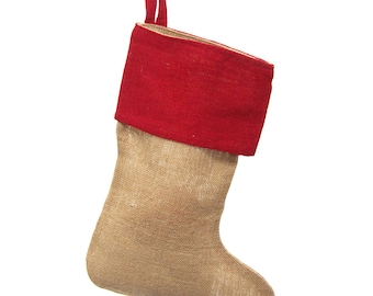 Natural Burlap Christmas Stockings w/ Red Cuff, 17-Inch