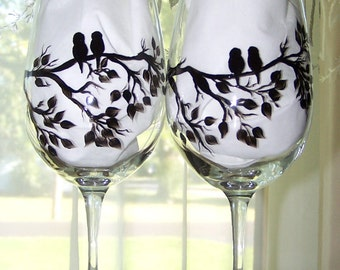 Love Birds on Branch Silhouette Glasses