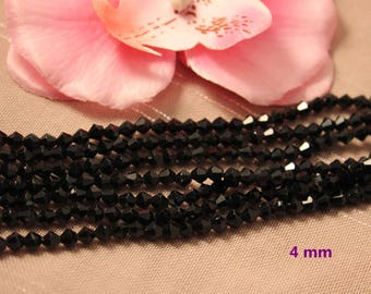 Lot 50 Crystal Bicone 4mm black faceted bicone beads
