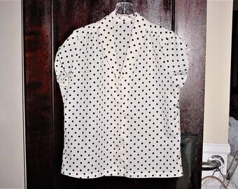 Vintage 70s Black White Polka Dot Blouse 38 Short Sleeve