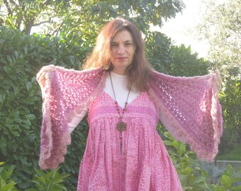 With two shades of pink wool scarf