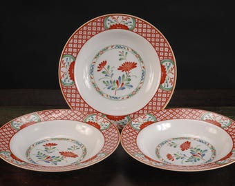 Georges Briard, Flowers of Seto Rimmed Soup Bowls, Set of 3