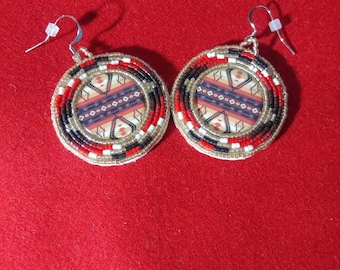 Modern native american beaded earrings.