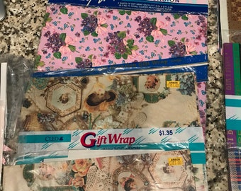 Vintage Wrapping Paper Grift Wrap Craft Paper 12 + and loose Crafting