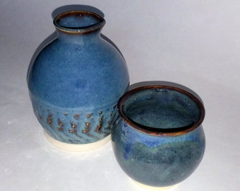 Blue Bedside Carafe and Cup with Chattered Texturing -  Wheel Thrown Pottery -  No need to get out of bed for a sip of water!