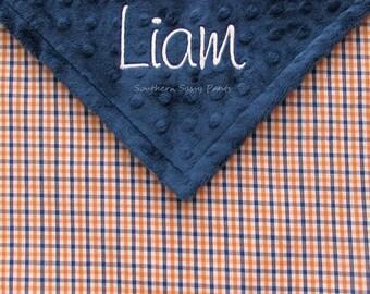 Auburn War Eagle Inspired Baby Blanket - Baby Boy Blanket , Personalized Baby Blanket - Limited Orange and Blue Gingham READ Description