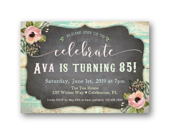 85th birthday invite etsy womens 85th birthday party invitations any age birthday invitations for her 70th birthday filmwisefo Choice Image