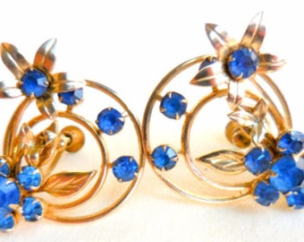 Blue Glass Art Deco Earrings, Floral, Victorian Revival Vintage Jewelry
