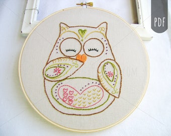 Embroidery Pattern PDF Owl Autumn and Fall Ooni the Owl