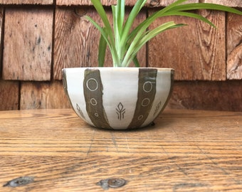 green and white striped ceramic planter with drainage hole handmade pot pottery