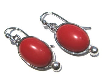coral red  earrings  silver 925%