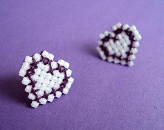 Purple Cross-Stitched Earrings - Heart Shape