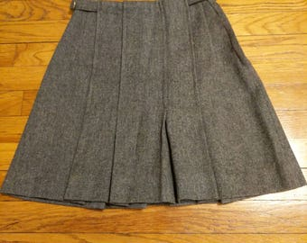 Vintage Short Gray Wool Pleated Skirt by Peerless of Boston