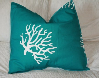 """20"""" x 20"""" Square Pillow Cover - Teal and White Coral, Cushion Cover, Throw Pillow, Premier Prints, Nursery, Home, Baby Pillow"""