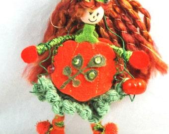 Pumpkin Doll Halloween Doll Acorn Fairy Doll Goes Pumpkin Ms. Pumpkin Doll Ornament