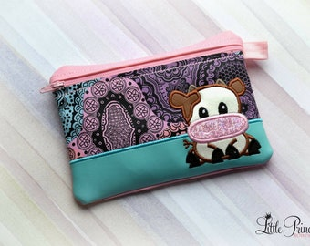 Cow Bag, Cosmetic Bag, Makeup Bag, Cosmetic Pouch, Makeup Pouch