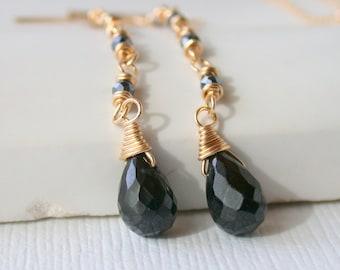 Gemstone Earrings Dangle Earrings Black Onyx Earrings Linear Earrings Dainty Earrings Black Earrings Drop Earrings