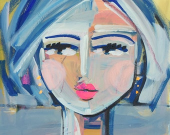 Abstract Portrait PRINT, medium, SQUARE, woman portrait, Abstract Girl, paper OR canvas