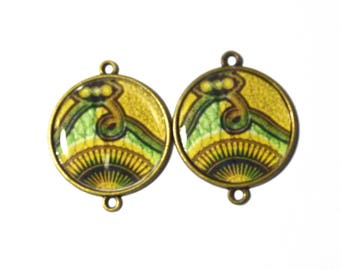 Stand color cabochons African bronze 2.5 cm
