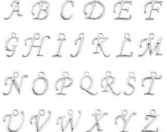 Cursive Letter Initial Charm, Alphabet Hang Charms, Single Letter, Silver Charms, Jewelry Making, Monogram Pendant, Create Your Own