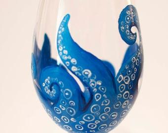 Octopus Handpainted Wine Glass