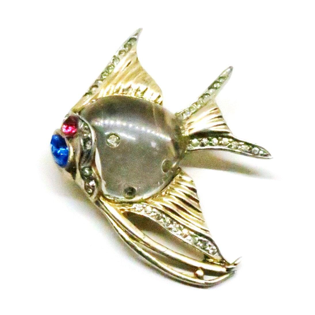Gelée du ventre ange poisson poisson poisson Fur Clip - Vintage, livre pièce par Adolph Katz, argent Sterling, or plaqué, bleu et strass claires Clip a28d8f