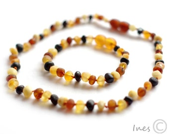 Raw Unpolished Multicolor Baltic Amber Baby Teething Necklace and Bracelet/Anklet