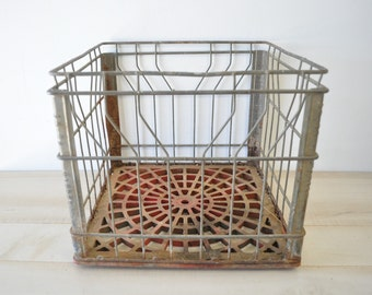 industrial vintage metal milk crate--wine storage, bathroom storage--country lliving farmhouse home decor