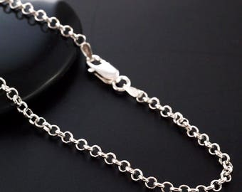 Sterling Silver Rolo Chain - 2.9mm - Custom Finished Lengths or By The Foot -  Made in the USA