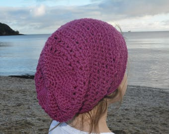 Cape Cap by Heidi May @TheVelvetAcorn, crocheted slouch hat ,  plum, age 8-12