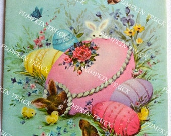 Vintage Easter Card - Bunny Rabbit in Panorama Glitter Egg - To Niece - Used Norcross